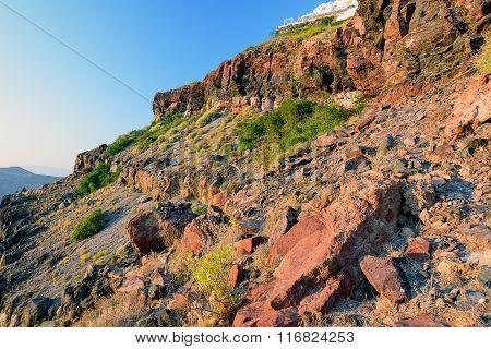 Red rocks of Santorini island, Greece