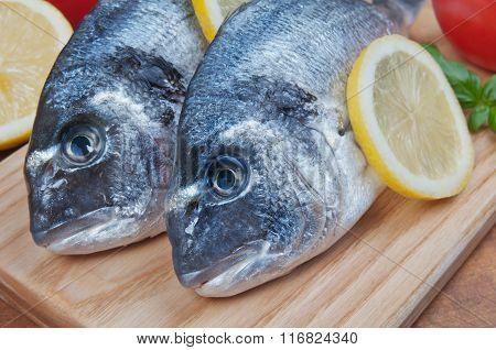 Fresh Sea Bream Fish On A Wooden Kitchen Board