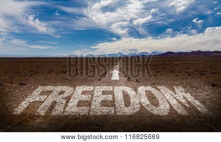 Freedom written on desert road