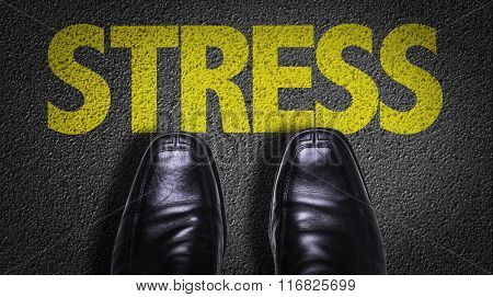 Top View of Business Shoes on the floor with the text: Stress