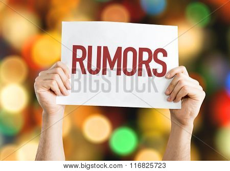 Rumors placard with bokeh background