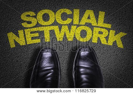 Top View of Business Shoes on the floor with the text: Social Network