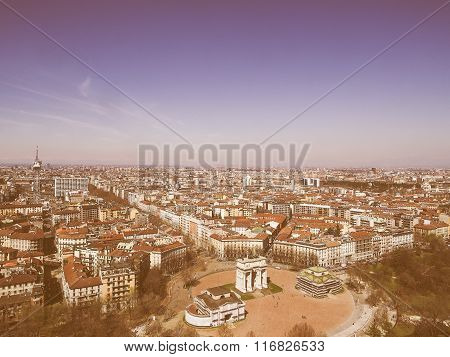 Retro Looking Milan Aerial View