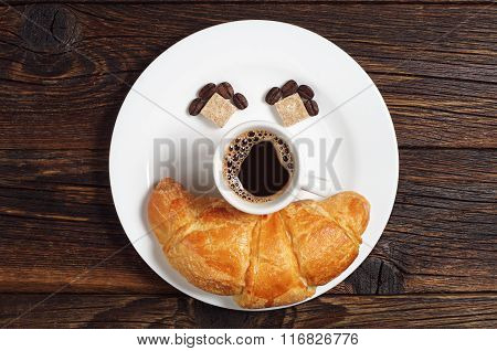 Coffee With Croissants In Plate