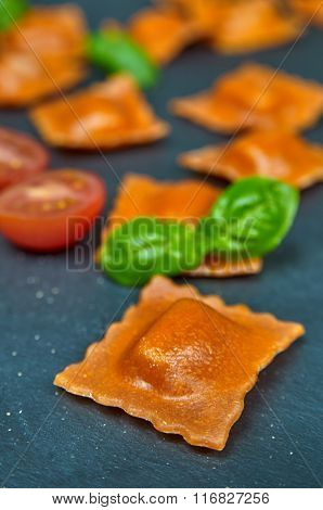 Tomato Ravioli With Cheese Fillings