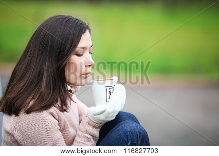 Dreaming Girl With a Cup Of Coffee