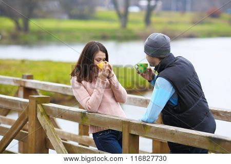 Couple Are Having a Hot Morning Coffee