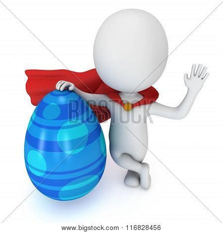 Brave Superhero With Red Cloak With Easter Egg