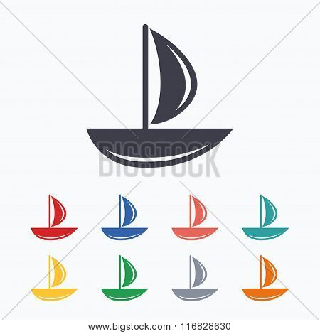 Sail boat icon. Ship sign.