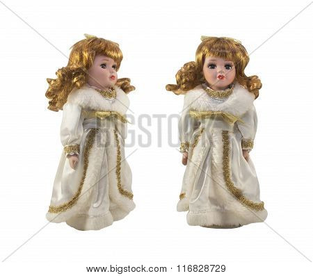Isolated porcelain doll in white dress