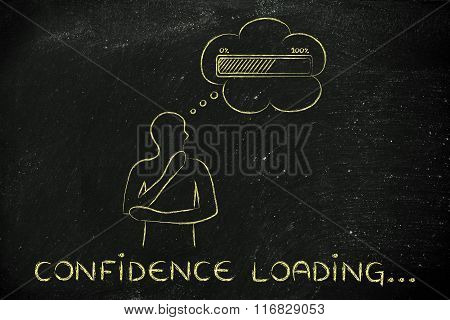 Person With Thought Bubble &  Progress Bar, With Text Confidence Loading