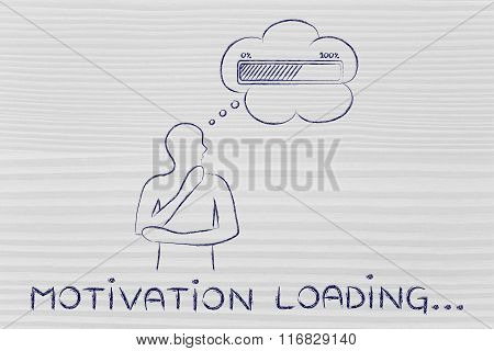 Person With Thought Bubble &  Progress Bar, With Text Motivation Loading