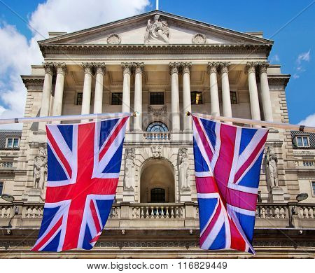 Bank of England and British flag