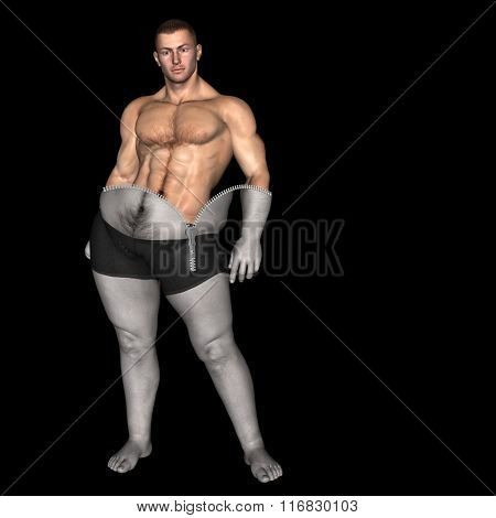 Concept or conceptual 3D fat overweight vs slim fit diet with muscles zipper young man isolated on black background