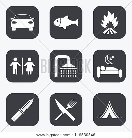 Hiking travel icons. Camping, shower and toilet.