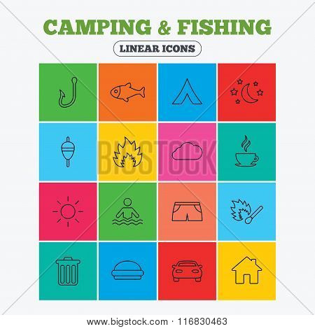 Camping and fishing icon. Coffee cup, hamburger.
