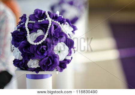 Beautiful Wedding Bouquet Of Purple And White Flowers