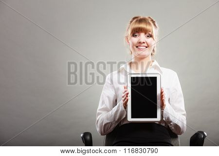 Woman With Tablet. Blank Screen Copy Space.