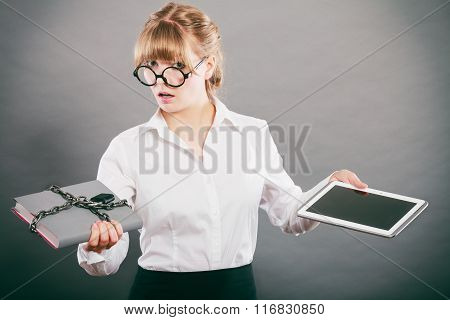 Woman With Document And Tablet. Digital Storage.