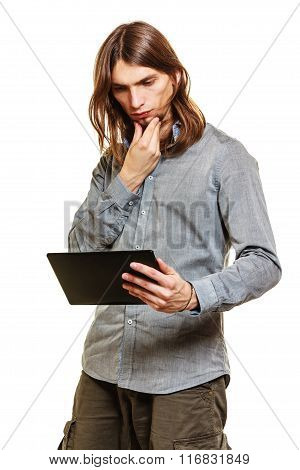 Fashion Man Using Pc Tablet Browsing Internet.
