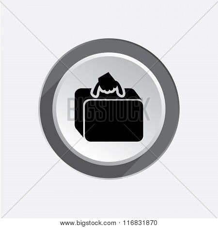 Airport baggage icon. Hand luggage sign. Traveling info symbol. Black sign on white-gray button with