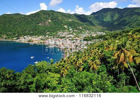Town Of Soufriere And Its Bay