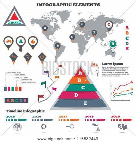 Infographics elements set. Pyramid chart, world map, graphics, pointers, flags, timeline diagram. Mo
