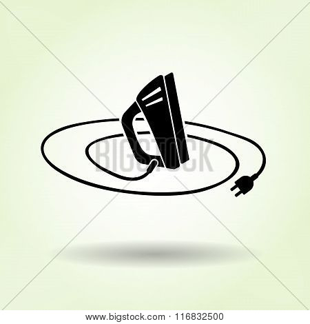 Iron icon with shadow on light green background. Electric appliance for dress smoothing symbol. Vect