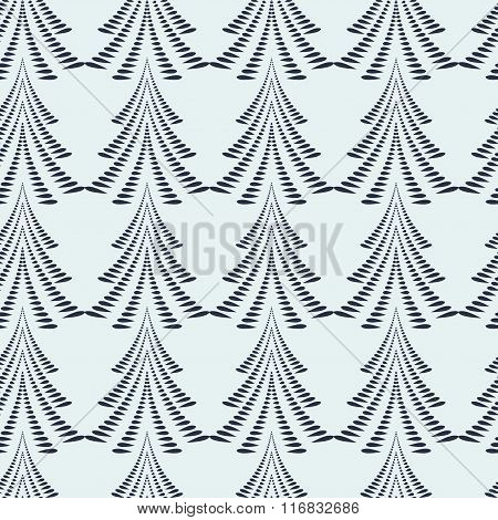 Seamless Christmas pattern. Firs, trees on light gray background. Twist stylized ornament of laurel