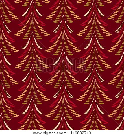 Seamless Christmas pattern. Firs, trees on dark red background. Twist stylized ornament of laurel le