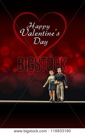 Miniature people -  a couple celebrate Valentine's Day