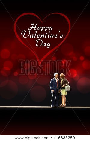 Miniature people -  a senior couple celebrate Valentine's Day
