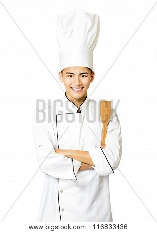 Portrait Of Young  Male Chef Isolated On White