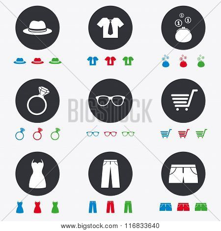 Clothes, accessories icons. Shopping signs.