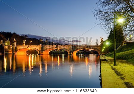 Turin (torino), River Po And Bridge Umberto I At Twilight