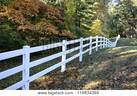 White country style railed fence