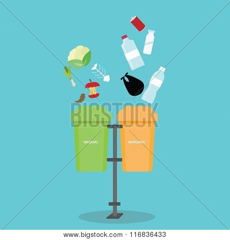 organic inorganic recycle garbage bin separation segregate  separate bottle degradable waste trash