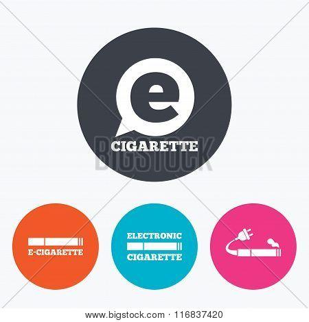 E-Cigarette signs. Electronic smoking icons.
