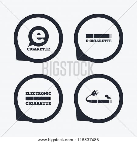 E-Cigarette signs. Electronic smoking icons.