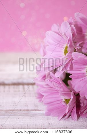 Bouquet Of Pink Chrysanthemum Flower On Rustic White Wooden Table. Valentine's Day And Mother's Day