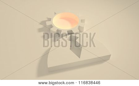 Gear Head Businessman 3D Icon. Brain Work Metaphor