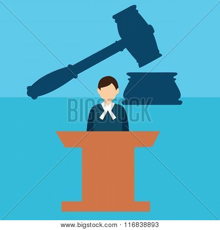 court judge desk trial hammer gavel legal justice flat icon