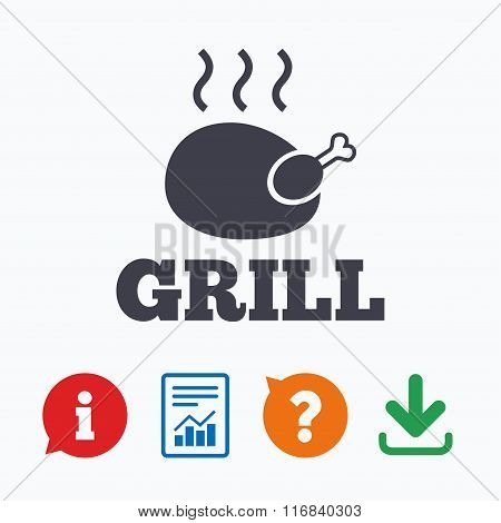 Chicken grill sign icon. Hen bird meat symbol.