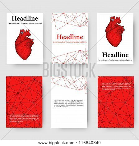 Abstract Creative concept vector background of the human heart. Polygonal design style letterhead