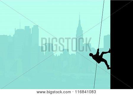 Businessman Scaling Skyscraper