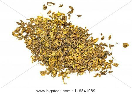 Dried Green Tea Close-up.