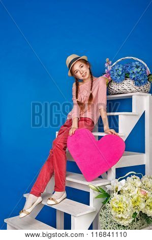 Teenage Girl Holding A Valentine Card.