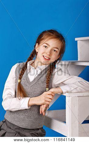 Teenage Girl In School Uniform.