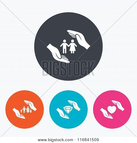 Hands insurance icons. Family life-assurance.