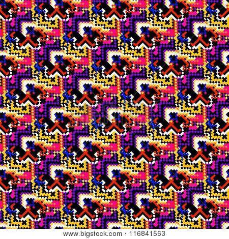 Colored Pixels Geometric Seamless Beautiful Pattern